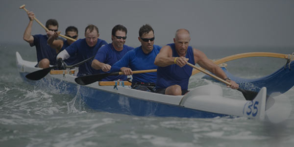 rowing team in rough water
